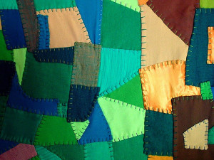 Quilt from recycled fabric--green spring cleaning